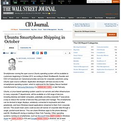 Ubuntu Smartphone Shipping in October - The CIO Report