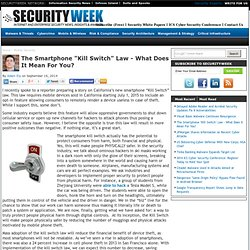 """The Smartphone """"Kill Switch"""" Law - What Does It Mean For You?"""