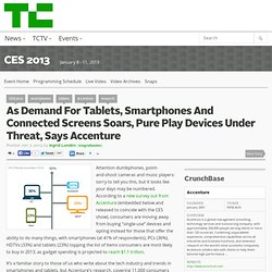 As Demand For Tablets, Smartphones And Connected Screens Soars, Pure Play Devices Under Threat, Says Accenture
