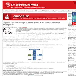 Supplier Opinion Surveys 3: A component of supplier relationship management : SmartProcurement.co.za - FREE on-line newsletter for purchasing and supply management professionals