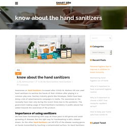 Smartsan - know about the hand sanitizers