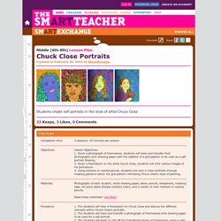 The smARTteacher Resource: Chuck Close Portraits