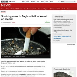 Smoking rates in England fall to lowest on record