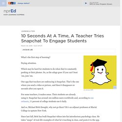 Snapchat As A Tool For Teachers : NPR Ed