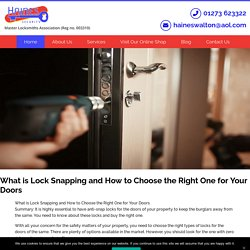 What is Lock Snapping and How to Choose the Right One for Your Doors - Haines Security Ltd