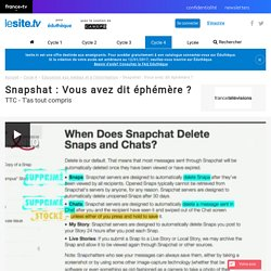 lesiteTV - Snapchat, données éphémères ?