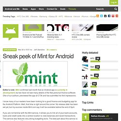 Sneak peak of Mint for Android – Android and Me