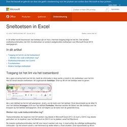 Sneltoetsen in Excel - Excel