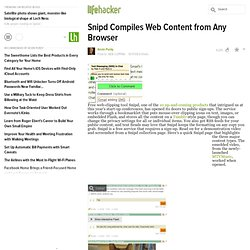 Snipd Compiles Web Content from Any Browser