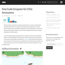 Free Code Snippets for CSS3 Animation