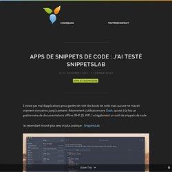 Apps de snippets de code : J'ai testé SnippetsLab - Dysign