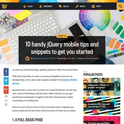 10 handy jQuery mobile tips and snippets to get you started