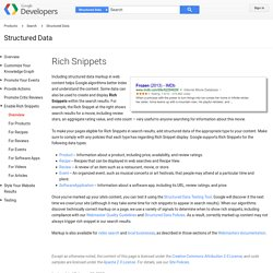 Rich Snippets - Structured Data