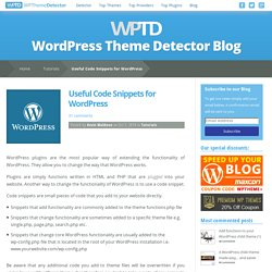 Useful Code Snippets for WordPress - WordPress Theme Detector