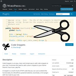 Code Snippets — WordPress Plugins