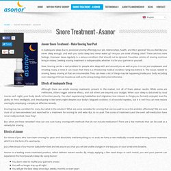 Effective Snore Treatment at Asonor