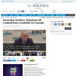 Snowden Archive: Database Of Leaked Docs Available In Canada