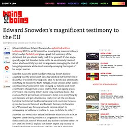 Edward Snowden's magnificent testimony to the EU