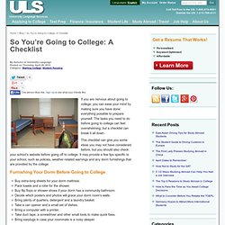So You're Going to College: A Checklist