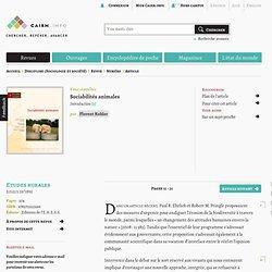 Sociabilités animales - cairn.info