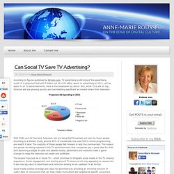 Can Social TV Save TV Advertising? | Anne-Marie Roussel