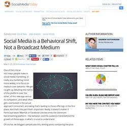 Social Media is a Behavioral Shift, Not a Broadcast Medium