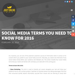 Social Media terms you need to know for 2016 - Brisbane & Gold Coast Social Media Marketing