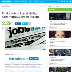 Find a Job in Social Media, Communications or Design