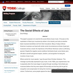 The Social Effects of Jazz — Writing Program