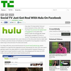 Social TV Just Got Real With Hulu On Facebook