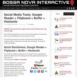 Social Media Tools: Google Reader + Flipboard + Buffer + Hootsuite
