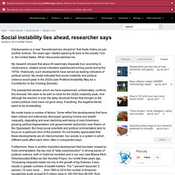 Social instability lies ahead, researcher says