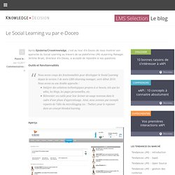 Le Social Learning vu par e-Doceo « LMS Selection