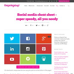 Social media cheat sheet – super speedy, all you needy