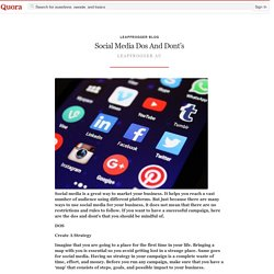 Social Media Dos And Dont's - LeapFrogger Blog - Quora