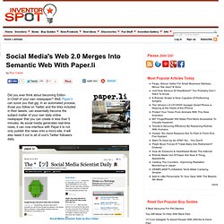Social Media's Web 2.0 Merges Into Semantic Web With Paper.li