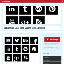 Social Media Share Icons, Modern, Black, Download - Ctrl Alt Design - Modern Art & Design for the 21st century