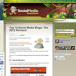 Top 10 Social Media Blogs: The 2012 Winners!