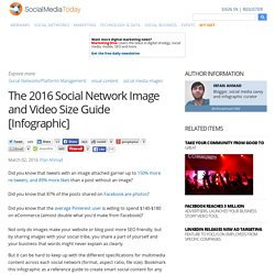 The 2016 Social Network Image and Video Size Guide [Infographic]