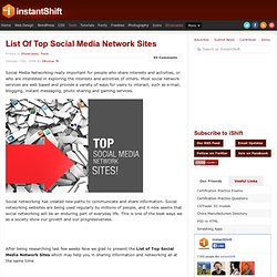 List Of Top Social Media Network Sites