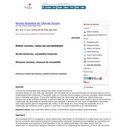 Social networks, sociability networks