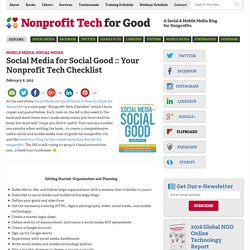 Your Nonprofit Tech Checklist
