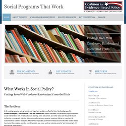 SOCIAL PROGRAMS THAT WORK
