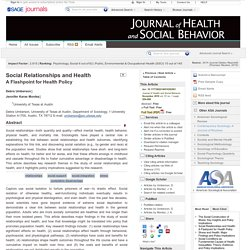 Social Relationships and Health