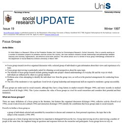 Social Research Update 19: Focus Groups