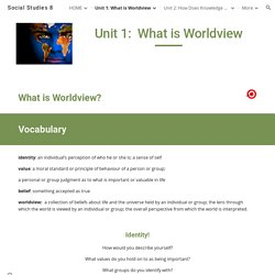 Social Studies 8 - Unit 1: What is Worldview