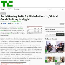 Social Gaming To Be A $1B Market In 2011; Virtual Goods To Bring In $653M