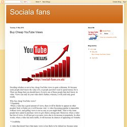 Sociala fans: Buy Cheap YouTube Views
