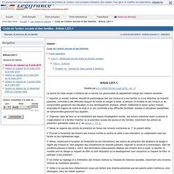 Code de l'action sociale et des familles - Article L221-1