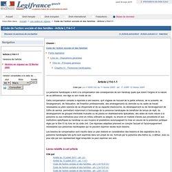 Code de l'action sociale et des familles - Article L114-1-1